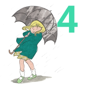 Girl in the rain holding umbrella
