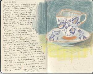 Delicate Tea Cup in Purple and Orange