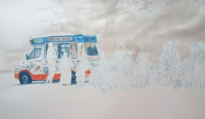 Draw the ice-cream van - I like all the lettering and folk-art like decoration. I avoid outline where ever possible,