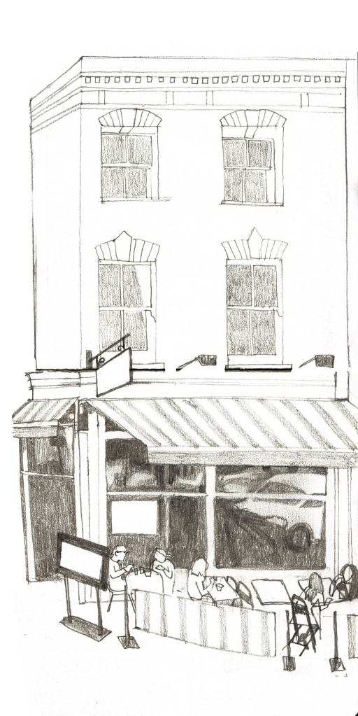 Sketchbook drawing of a Cafe in Stoke Newington